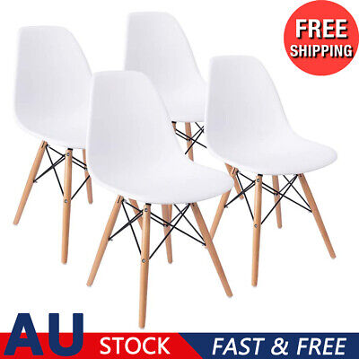 AU90.94 • Buy 4 X Home Kitchen Living Room Seats Solid Wood Legs Plastic Backrest Dining Chair