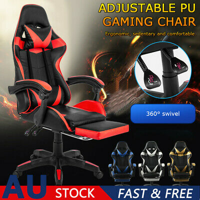 AU114.25 • Buy Adjustable Gaming Chair Office Executive Computer Racing Footrest Recliner AU