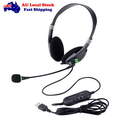 AU12.99 • Buy USB Headset Gaming Headphone With Microphone Noise Cancelling To PC Laptop Black