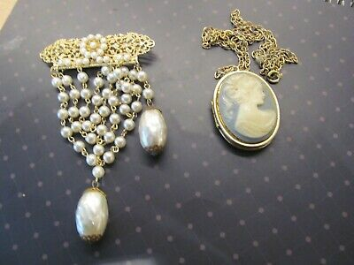 Assorted Vintage Costume Jewellery.. Fabulous Pearl Brooch And Cameo Locket  • 5£