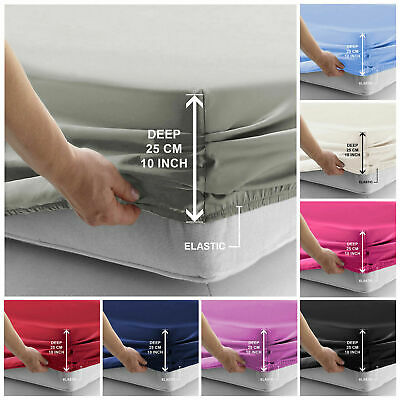 £9.47 • Buy 100% Ranforce Cotton Fitted Sheet 300 Thread Count Single Double King Super King