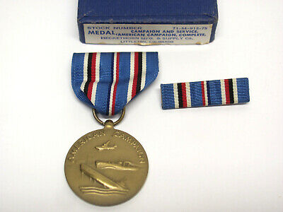 £12.07 • Buy Vintage WWII US AMERICAN CAMPAIGN And SERVICE 1941-1945 Medal +Ribbon SET +Box!