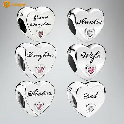 AU15.31 • Buy Authentic PANDORA 925 Sterling Silver Family Heart Charm Bead DIY Pendant Charms