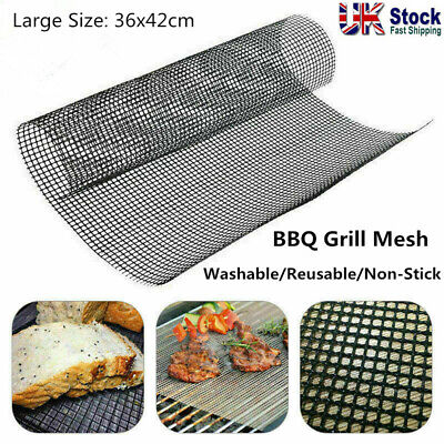 £2.94 • Buy BBQ Grill Mesh Non-Stick Mat Reusable Sheet Resistant Cooking Baking Barbecue UK