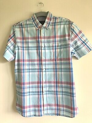 £3.99 • Buy Atlantic Bay Mens Short Sleeved Cotton Shirt Size L Large Turquoise Blue Check