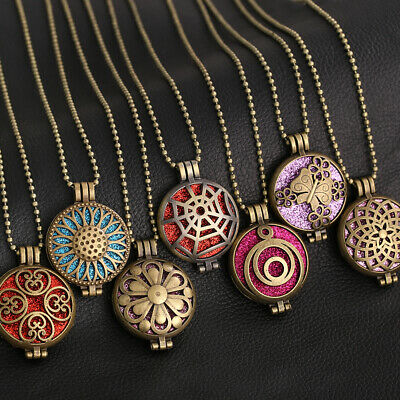 AU2.48 • Buy Aromatherapy Diffuser Necklace Vintage Open Locket Aroma Pendant Perfume Flower
