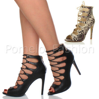 £12.99 • Buy Womens Ladies High Heel Peep Toe Cut Out Lace Up Caged Sandals Shoes Size