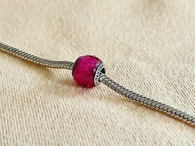 AU11.99 • Buy PANDORA Murano Glass Charm W/ 925 Silver Thread-Core ~ Fuchsia Petite Faceted