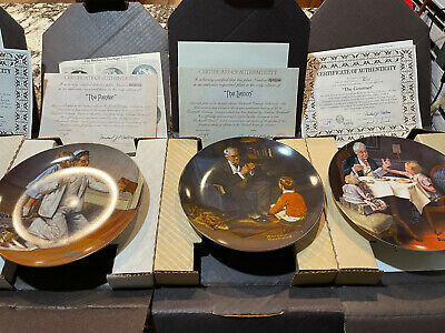 $ CDN36.11 • Buy Lot Of 7 Norman Rockwell Series Decorative Plates Knowles COA