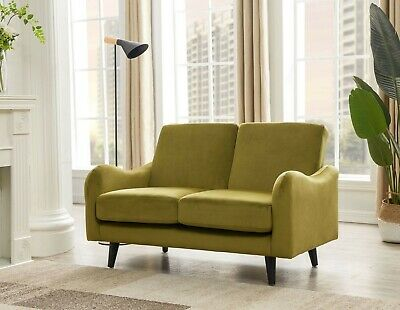 £249 • Buy Olive Velvet Sofa 2 Seater - FREE NEXT DAY DELIVERY - Wave, Compact Quick Set-up