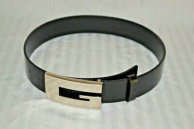 AU103.02 • Buy Vintage Authentic Classic Black Leather Gucci Belt Women's Large Chrome G Buckle