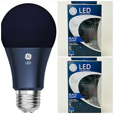AU21.53 • Buy 2 Pack GE LED Black Light Bulb 7 Watt A-Shape Medium Base  A-19