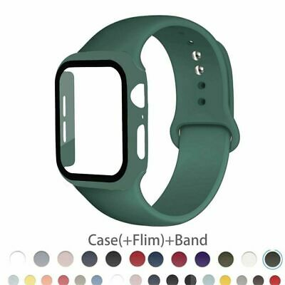 $ CDN11.84 • Buy Silicone Band Strap + Glass Screen Case For Apple Watch Series 6 SE 5 4 3 2 1