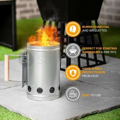 $ CDN25.77 • Buy Barbecue BBQ Chimney Starter Charcoal Grill Steel Rapid Quick Fire Lighter Coal