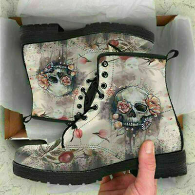 £17.99 • Buy New Womens Ladies Winter Warm Skull Flower Printed Ankle Snow Boots MartinShoes