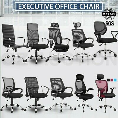 AU159.95 • Buy PU Leather & Mesh Office Chair Computer Recliner Home Office Executive Work Seat