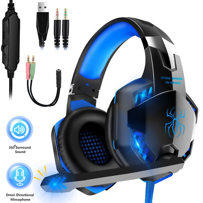 AU24.99 • Buy 3.5mm Gaming Headset MIC LED Headphones Surround For PC Mac Laptop PS4 Xbox One
