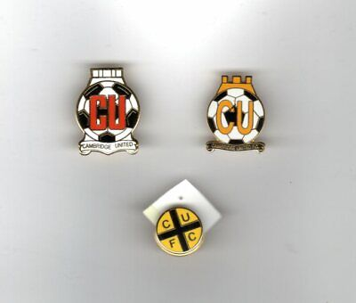 £6.75 • Buy CAMBRIDGE UNITED F.C. Enamel Badge Collection 3 Pins New Different POST FREE UK