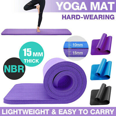 AU22.68 • Buy 15MM Thick Yoga Mat Pad NBR Nonslip Exercise Fitness Pilate Gym Durable Yoga Mat