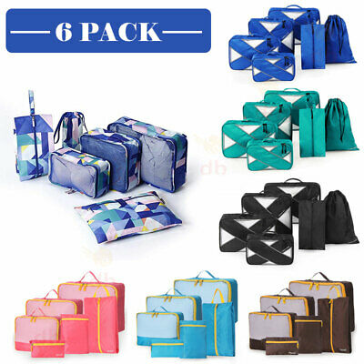 AU11.99 • Buy 6 Packing Cubes Pouch Luggage Storage Travel Suitcase Clothes Organiser Shoe Bag