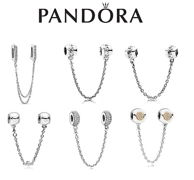 AU23.99 • Buy NEW Genuine Silver Pandora Logo Safety Chain Charm ALE S925 & With Gift Box