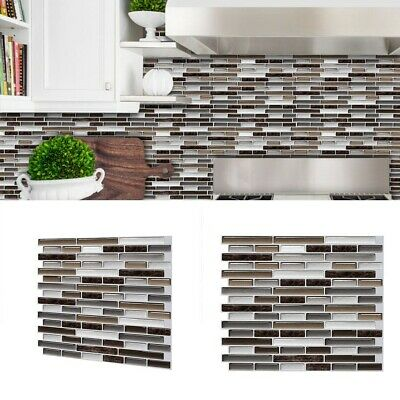 £8.09 • Buy Kitchen Tile Stickers Bathroom 3D Mosaic Self-adhesive Wall Cover Decal Sticker