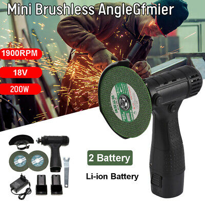 £34.99 • Buy Mini Cordless Angle Grinder Polishing Brushless Cutter+2 Battery &Charger+2 Disc