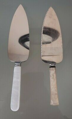 £5 • Buy 2 Vintage Mother Of Pearl Handle Stainless Steel Cake Slices