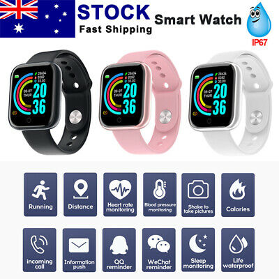 AU16.79 • Buy Smart Watch Blood Pressure Heart Rate Monitor IP67 Waterproof For IOS Android