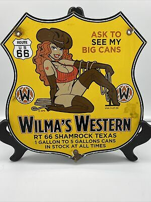$ CDN13.91 • Buy 1956 Vintage ''wilma's Western'' Gas & Oil Porcelain 11.5x11 Inches
