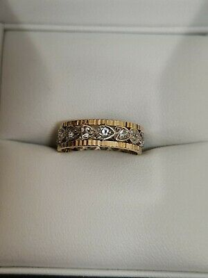£88 • Buy 9ct Yellow And White Gold Spinel Stone Ring Vintage
