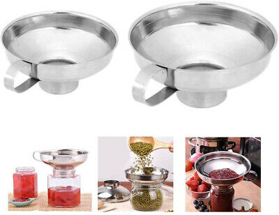 AU13.99 • Buy 2Pcs Stainless Steel Specialist Funnel Hopper Filter Wide Mouth Canning Kitchen