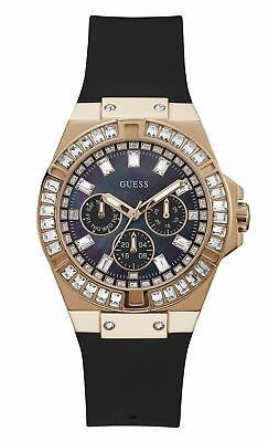 $ CDN105.97 • Buy GUESS Women's Stainless Steel Quartz Watch With Silicone Strap, Black GW0118L2
