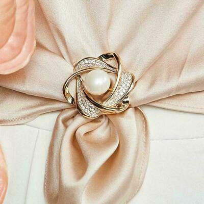 £2.08 • Buy Women Crystal Pearl Flower Scarf Ring Clip Buckle Holder Jewelry Pin Brooch T4I1