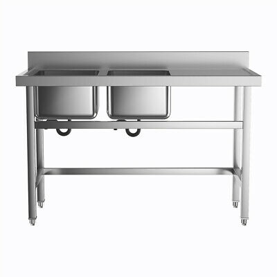 £245.95 • Buy Commercial Catering Stainless Steel Kitchen Sink Double 2 Bowl Table Drainer