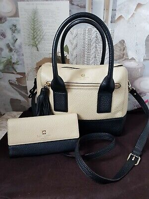 $ CDN136.30 • Buy Kate Spade Taupe & Black Leather Tote Bag With Matching Purse VGC