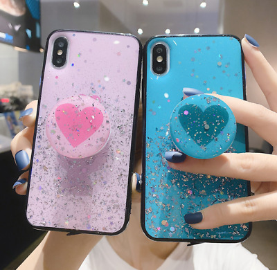 AU8.29 • Buy Glitter Grip Stand Case For IPhone 7 X XR XS MAX 8 6 Plus Love Heart Soft Cover