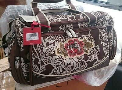 £49.99 • Buy Bnwt Oilily Carry All Brown Floral Weekend Bag 46 Cm X 25 Cm X 19 Cm