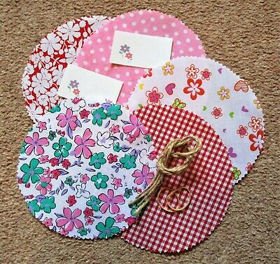 £2 • Buy 10 Jam Jar Candle Covers Pot Luck Pink Red Mix Polycotton Free Ties Labels Bands