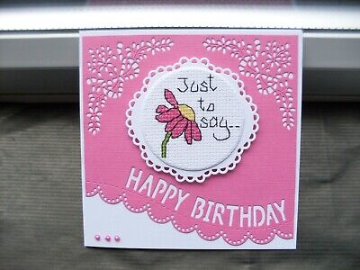 £1.35 • Buy  Hand Made Completed Cross Stitch  Cards  Flower  Birthday