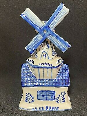 £7.09 • Buy Vintage Delft Blue Holland Dutch Windmill Hand Painted Musical Figurine
