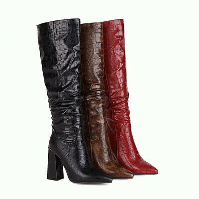 £44.99 • Buy Women's Knee High Heel Boots Faux Crocodile Leather Pointed Toe Shoes UK Sz 1~12