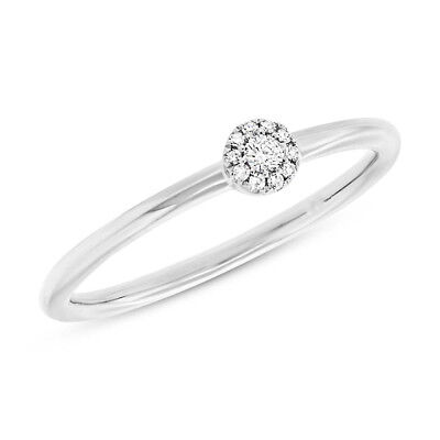 AU730.94 • Buy Diamond Halo Cluster Minimalist Dainty Solitaire Ring 14K White Gold 0.07ct