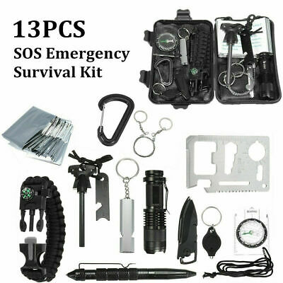 £16.99 • Buy 13 In 1 Emergency Equipment Outdoor Camping Survival SOS Box Gear Tool Kit Set