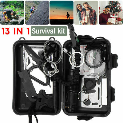 £0.01 • Buy 13 In 1 Emergency Equipment Outdoor Camping Survival SOS Box Gear Tool Kit Set