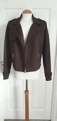 £17.99 • Buy Nwt Choc Brown Faux Suede Soft Shell Short Biker Jacket F&f 12 Vintage/casual
