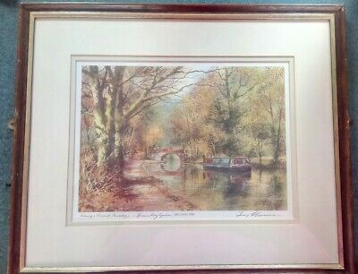£25 • Buy Terry Harrison Signed Print The Canal Trip Kings Head Bridge Frimley Green