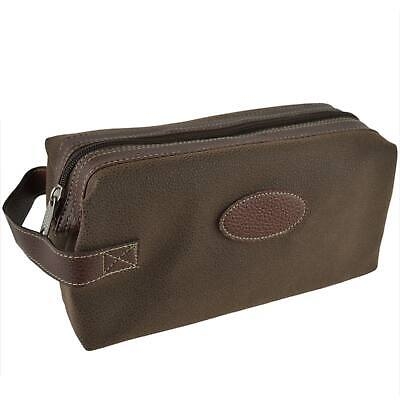 AU59.12 • Buy Mens Classic Travel Faux Suede Framed Top Zip Washbag By Danielle Berkeley Colle