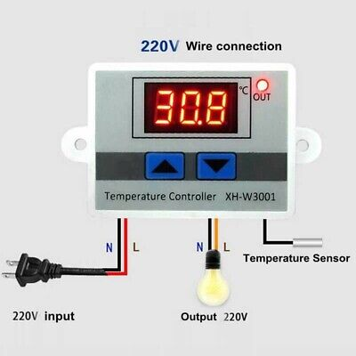 £7.19 • Buy 12V 220V Digital LED Temperature Controller 10A Thermostat Control Switch Probe