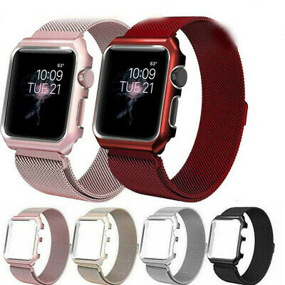 AU15.99 • Buy Magnetic Stainless Steel IWatch Band Strap + Full Screen Case Fit Apple Watch
